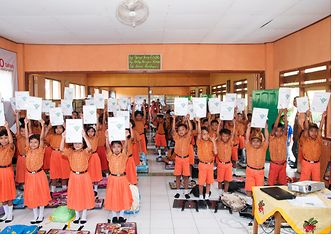 School children in Indonesia learning sustainability